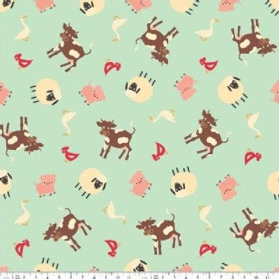 Riley Blake Designs - Farm Fresh - Farm in Teal - 7.99