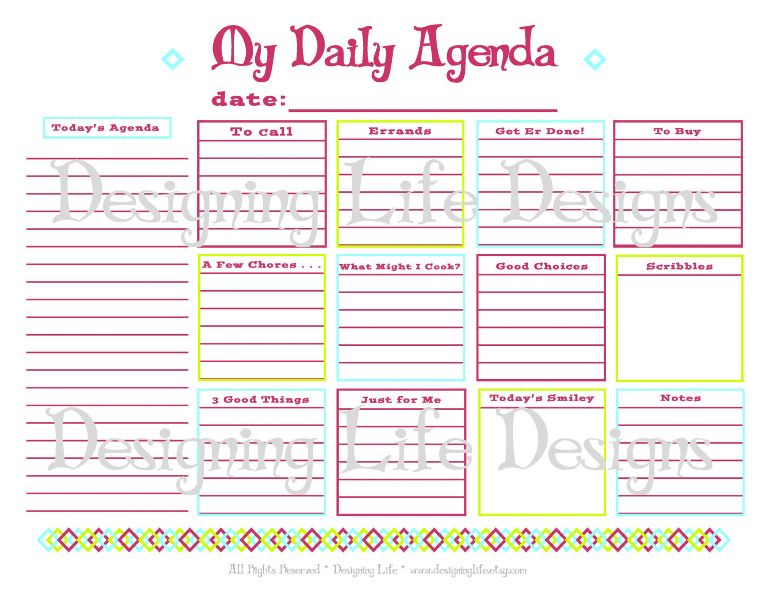 Daily Organizer Planner Templates | Daily Planner