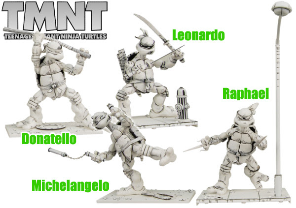 TEENAGE MUTANT NINJA TURTLES / 7inch ACTION FIGURE SERIES 1.5 BLACK and WHITE alternate : 4 PACK :: Medium Peek [[  Courtesy of chara-net.com ]]