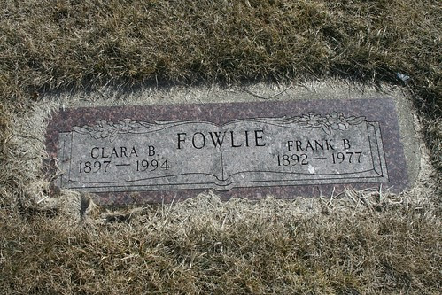 Clara and Frank Fowlie Tombstone