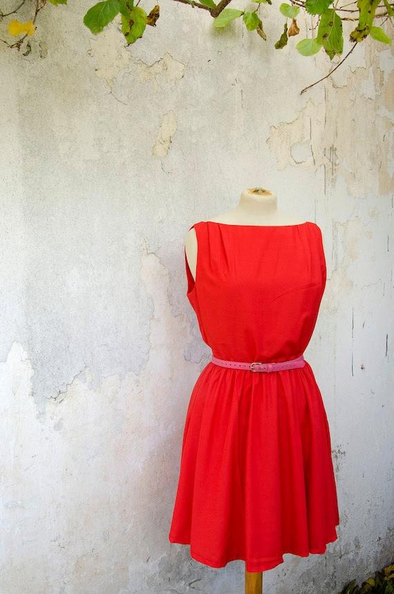 Red Orange Vintage Inspired Dress