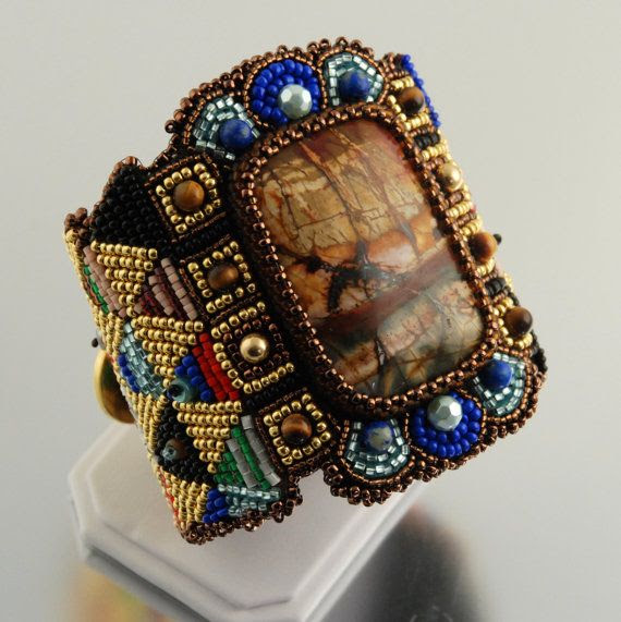 Urban Warrior Metallic Cuff Bracelet for Women, Tribal Bracelet, Large Bead Embroidered Cuff, Geometric, Glass and Leather