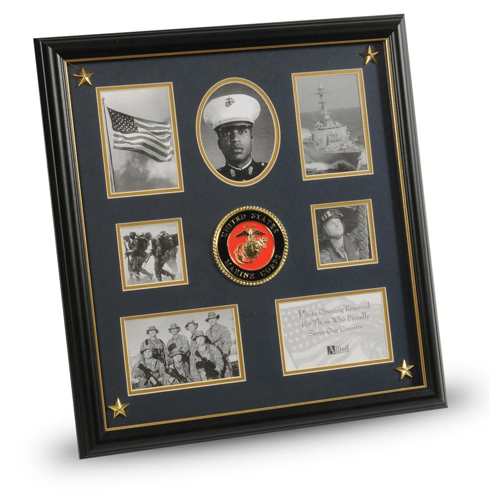 Us Marine Corps Medallion 7 Picture Collage Frame With Stars