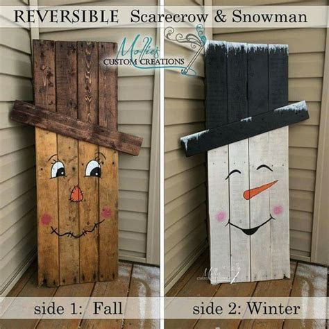Reversible Scarecrow And Snowman Pallet Pictures, Photos
