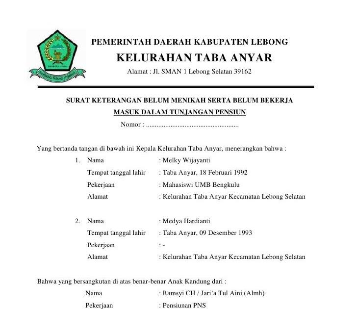 Surat Belum Menikah Dari Kelurahan - Bagikan Contoh