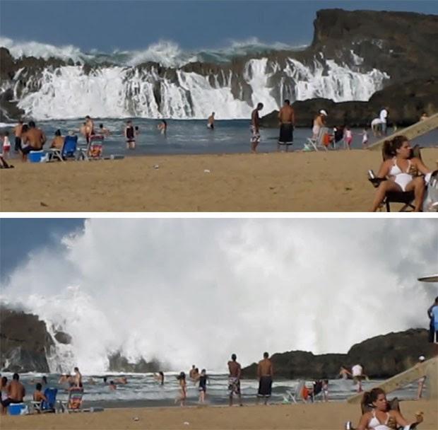 Sequência mostra como as ondas gigantes ultrapassam o paredão de rocha na praia de Puerto Nuevo, em Porto Rico (Foto: Reprodução/Youtube/tmjmccormack)