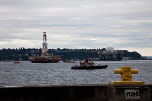 Chief Sealth fireboat cruises by the SBX Radar...
