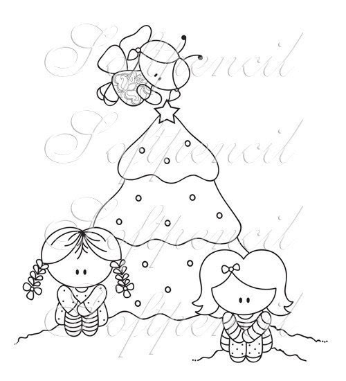 ON SALE Digital Stamp / A charmed Christmas tree