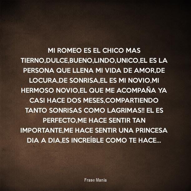 Cartel Para Mi Romeo Es El Chico Mas Tierno Dulce Bueno Lindo Unico