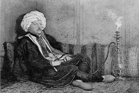 Portrait of Sir Thomas Phillips in Eastern Costume, Reclining (1842: watercolor)