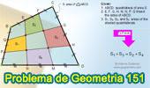 Problema de Geometría 151. Área del Cuadrilátero, Trisección de lados, Suma de Áreas.