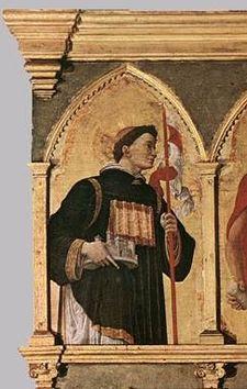 Imagem do St. Daniel de Pádua, o Retábulo San Luca por Andrea Mantegna mantido na Pinacoteca di Brera, em Milão