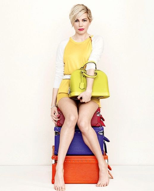 Le Fashion Blog Michelle Williams Louis Vuitton SS 2014 Bright Campaign Trunks Yellow Top Handle Bag Colorblock Sweater Short Blonde Hair Haircut Beauty Lipstick Photographer Peter Lindbergh 12 photo Le-Fashion-Blog-Michelle-Williams-Louis-Vuitton-SS-2014-Campaign-Trunks-12.jpg