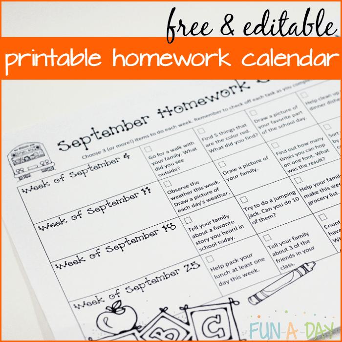 Calendar Homework for Preschool and Kindergarten - Fun-A-Day!