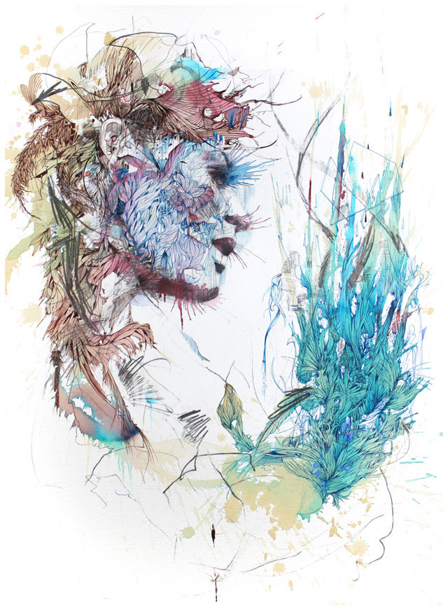 New Portraits from Carne Griffiths Drawn with Coffee, Tea, Ink and Liquor portraits illustration drawing