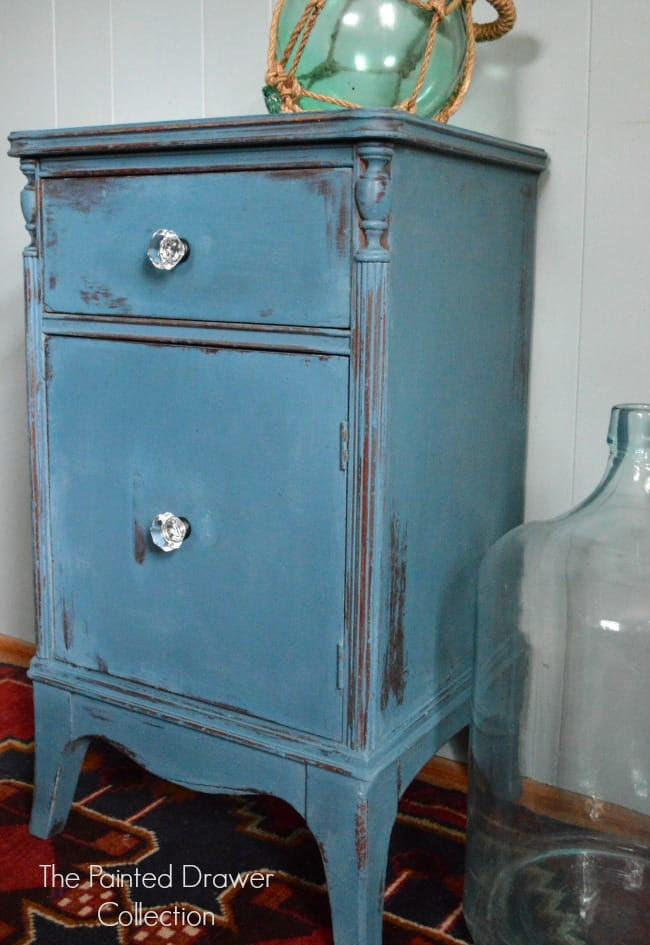 Bedside Table in Annie Sloan Aubusson by The Painted Drawer