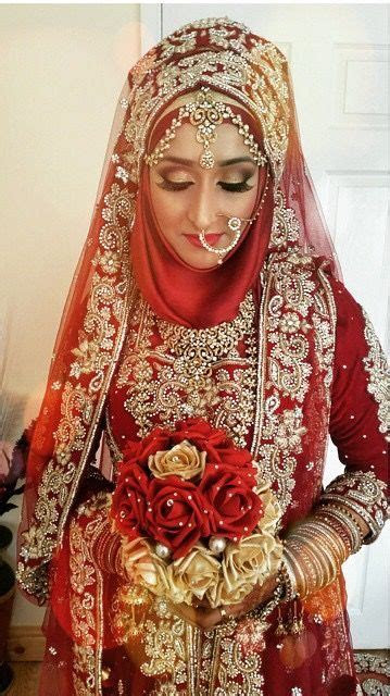 ? Red #HijabiBride #SouthAsianBride ? Hijabi South Asian
