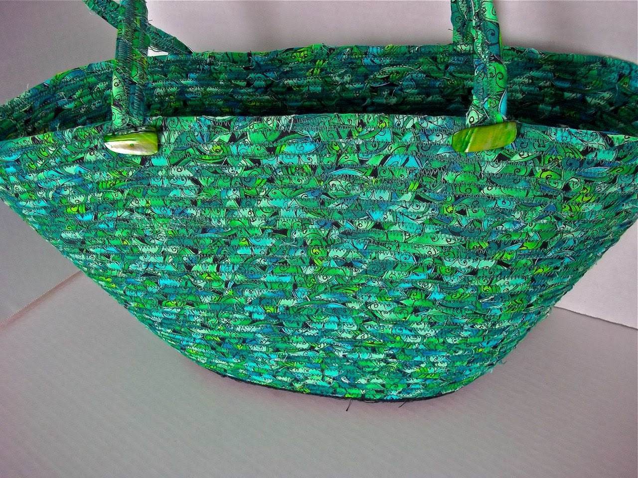 Sale... Handmade Leaf Salad Tote Bag, Large Beach Bag, Gym Bag, Picnic Basket, hand coiled and hand wrapped fabric,  Unique