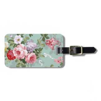 Vintage Elegant Pink Red Roses Pattern Tags For Bags