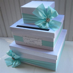 Wedding CARD BOX Money Holder Aqua Tiffany Blue White Quality