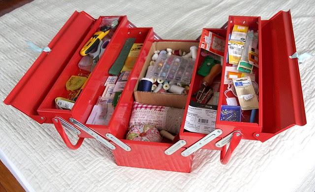 Red metal sewing box