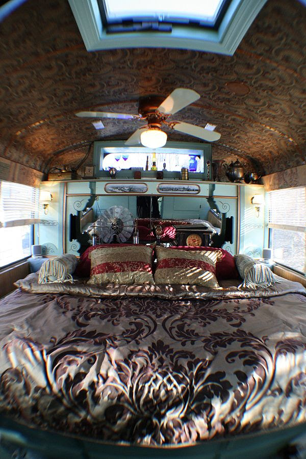 Love the ceiling in this bus!    Steampunk RV bedroom, converted from an old school bus
