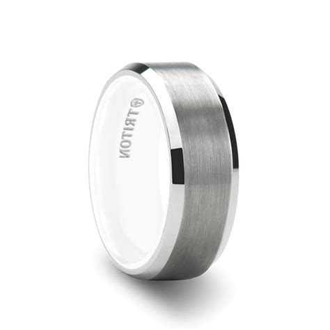 Tungsten Air Flat Brushed White Tungsten Ring with Beveled