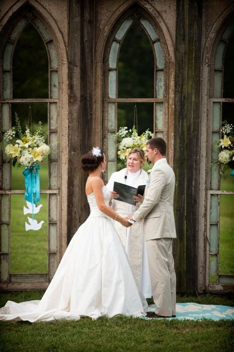 Outdoor ?Church? repurposed gothic windows for back drop