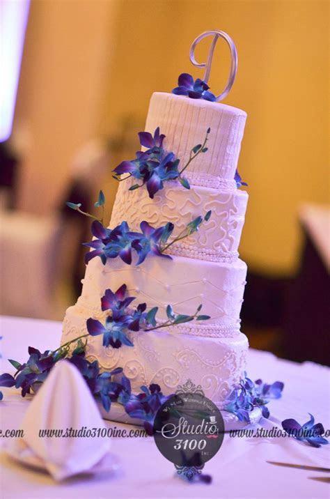 wedding cake, blue purple orchid   Wedding   Pinterest