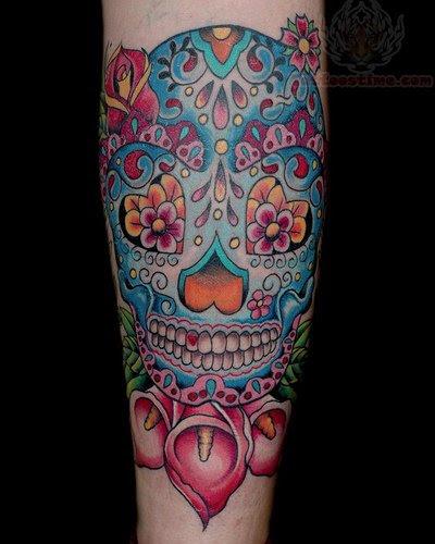 Sugar Skull And Flowers Tattoos On Arm