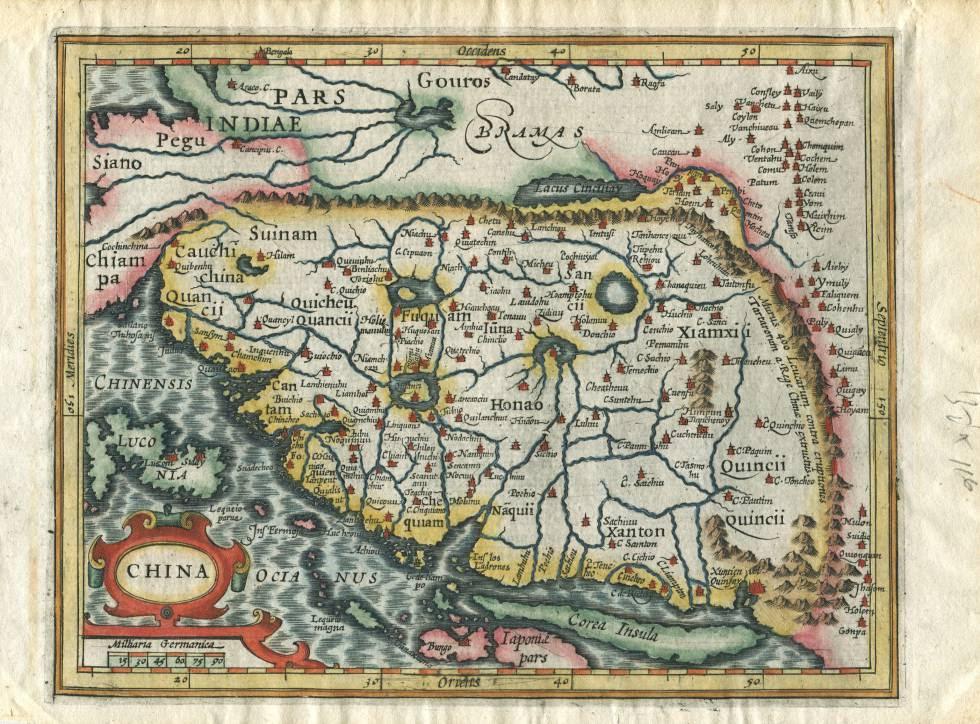 Mapa de las Indias orientales, de Matthias Quad, Colonia, 1600. La ruta del Galeón Manila unía esta zona con México.