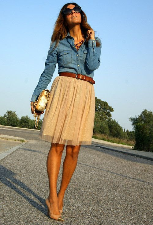 Chambray shirt with gold glitter skirt.