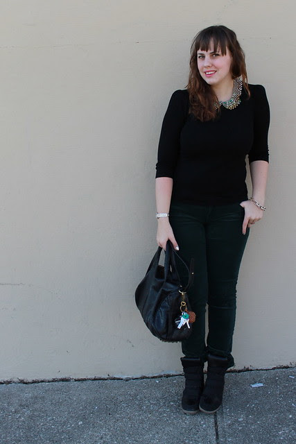 Christmas Eve Eve Outfit: Black sneaker wedges, green AG corduroys Black sweater with delicate shoulder-pad detail, Peter-Pan-collar necklace