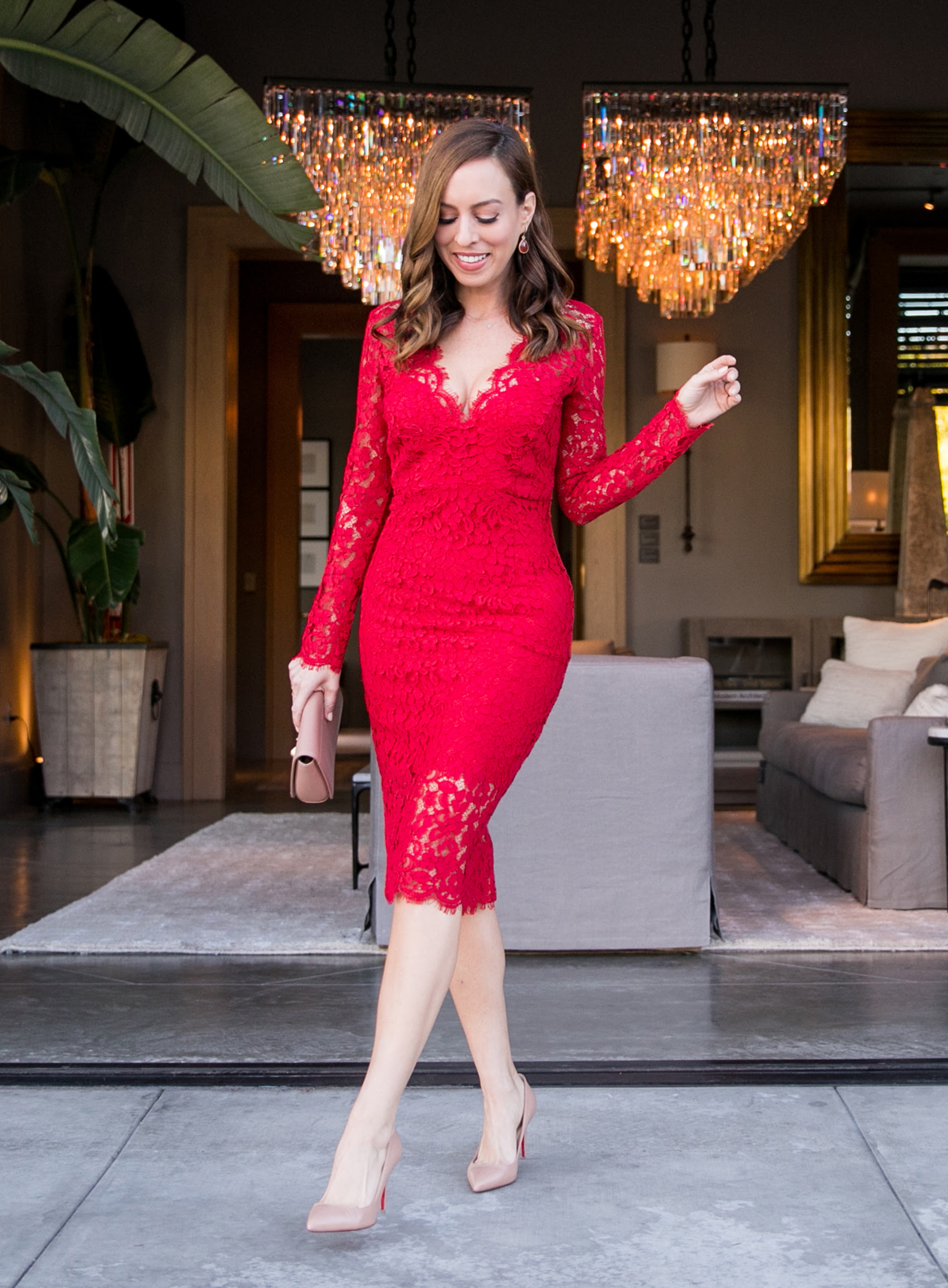 red long sleeved lace dress perfect for valentine's day