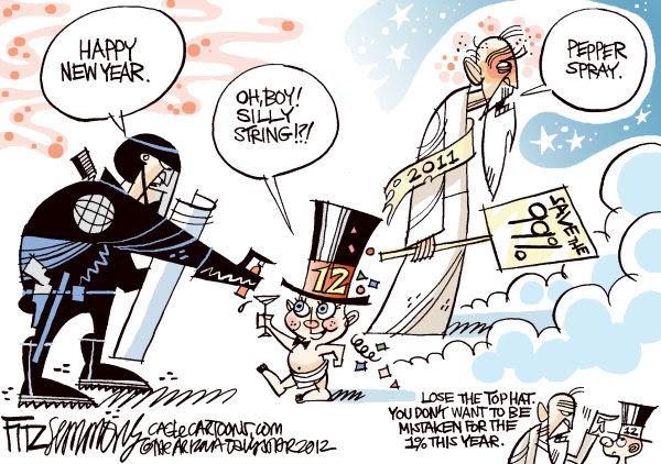 David Fitzsimmons - The Arizona Star - 2012 Happy New Year COLOR - English - Holiday, pepper spray, class warfare