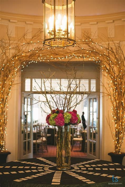 Gorgeous entryway & reception decor! Tall centerpieces