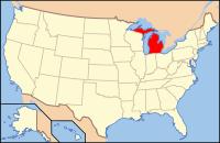 Map of the U.S. highlighting Michigan