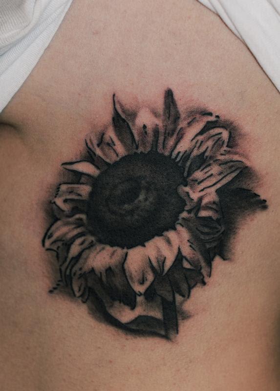 Black And Grey Sunflower Flower Tattoo By Dlacie Tattoonow