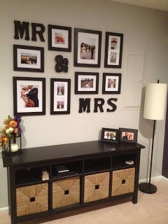 Picture Frame Grouping Using Wedding Photos And Mr Mrs Letters
