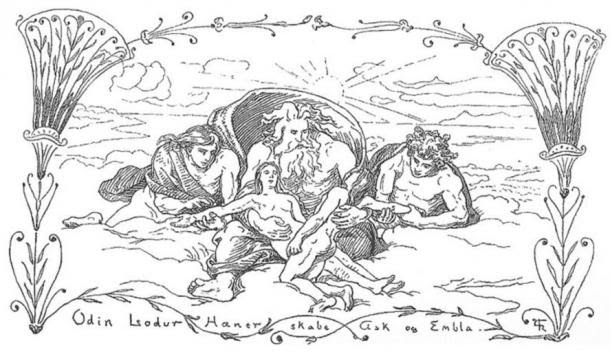 Odin creates Ask and Embla. Published in Gjellerup, Karl (1895).