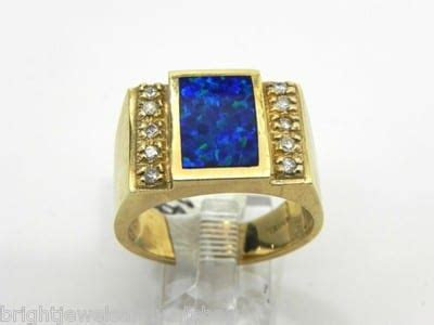 mens  yellow gold black opal diamonds ring bright