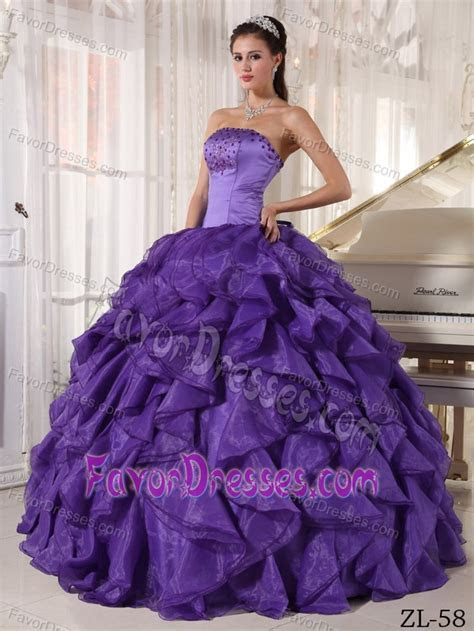 Purple Strapless Sweet 16 Dresses in Satin and Organza