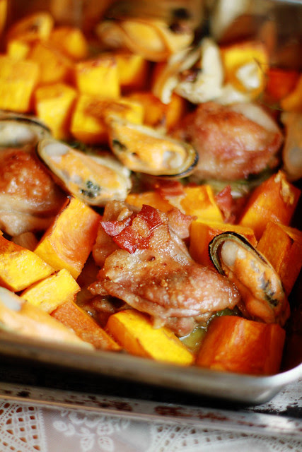 Baked Pumpkin, Chicken, Bacon, Mussels & Cheese