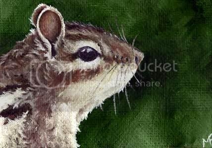 chipmunk oil painting