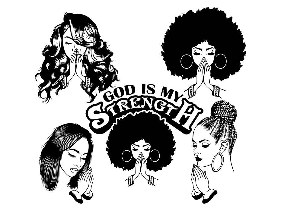 Download Bundle Afro Woman Praying SVG African American Ethnicity ...