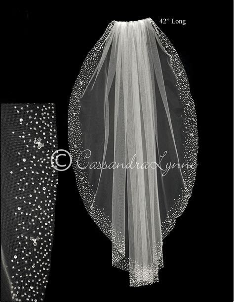 Fingertip Bridal Veil with Heavy Scatter of Beads and