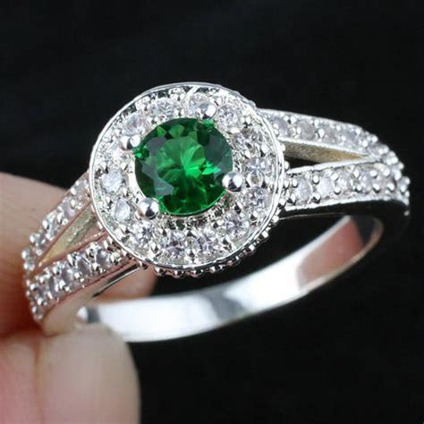 2018 Women Green Emerald Wedding Band Ring Silver Ring