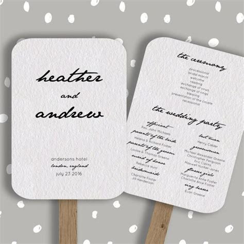 wedding program fan template editable  word diy