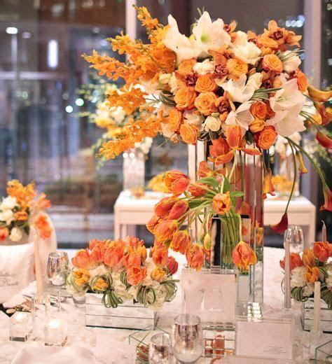 orange reception wedding flowers, orange wedding decor