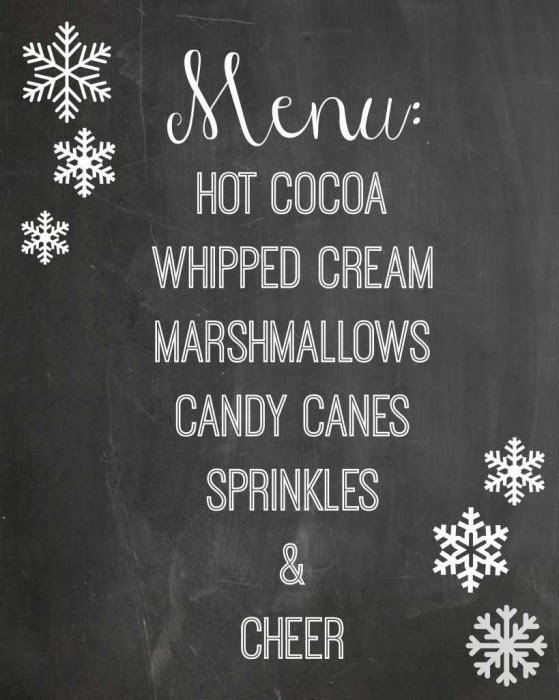 winter chalkboard printable